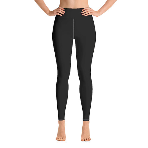 Adam Clark Fitness Yoga Leggings Back Logo - Black - White Stitch