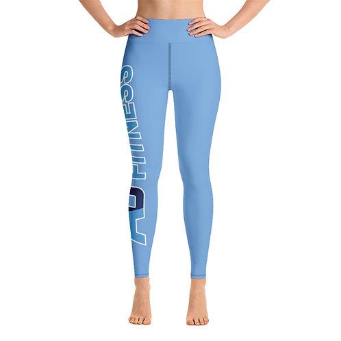Adam Clark Fitness Yoga Leggings - Side Leg Full Logo - Light Blue