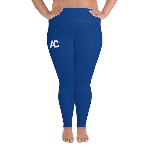 All-Over Print Plus Size Leggings AC Logo - Blue - White Stitch
