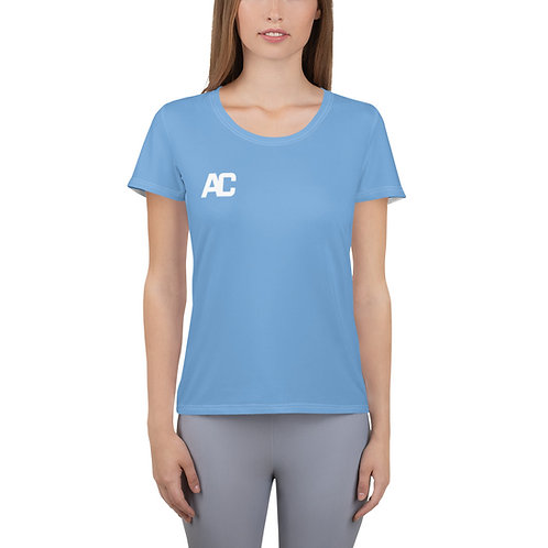 Adam Clark Fitness Women's Athletic T-shirt - Just Keep Moving Quote - Lt Blue