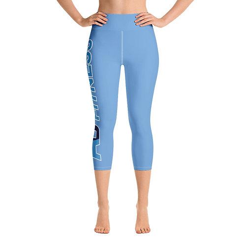 Adam Clark Fitness Side Logo Yoga Capri Leggings - Light Blue - White Stitch