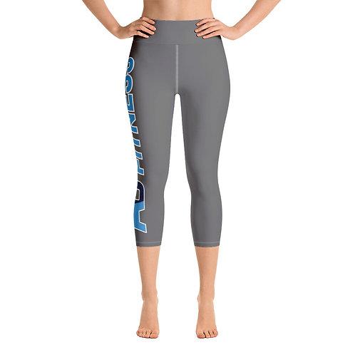 Adam Clark Fitness Side Logo Yoga Capri Leggings - Grey - White Stitch