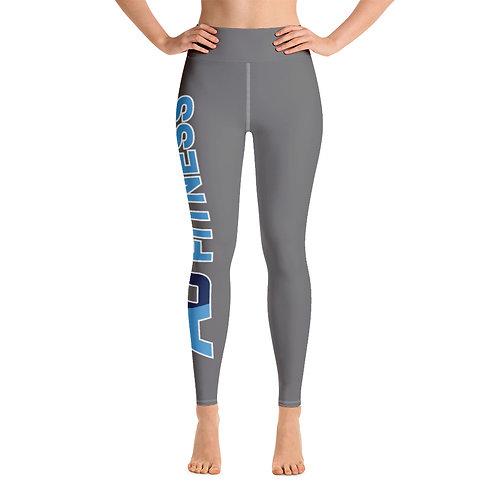 Adam Clark Fitness Yoga Leggings - Side Leg Full Logo - Grey - White Stitch