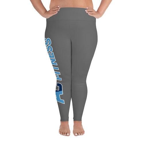 All-Over Print Plus Size Leggings Adam Clark Fitness Side Leg Logo - Grey