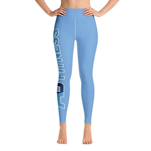 Adam Clark Fitness Yoga Leggings - Side Leg Full Logo - Lt. Blue - White Stitch