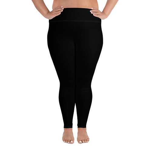 Plus Size Leggings Adam Clark Fitness Back Waist Logo - Black - White Stitch