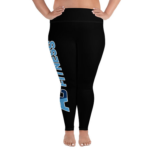 Plus Size Leggings Adam Clark Fitness Side Logo - Black - White Stitch