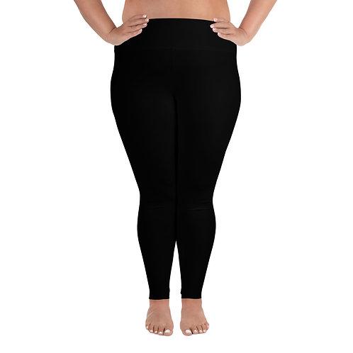 All-Over Print Plus Size Leggings Adam Clark Fitness Back Waist Logo - Black