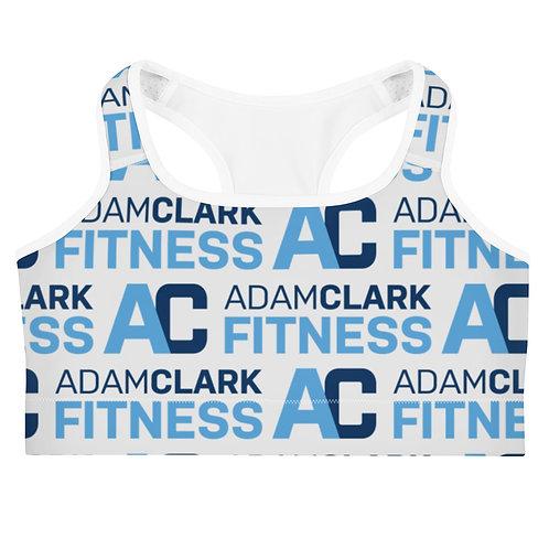 Adam Clark Fitness All Over Logo Sports Bra - Light Grey