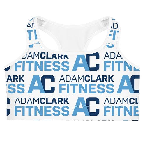 Adam Clark Fitness All Over Logo Sports Bra - White