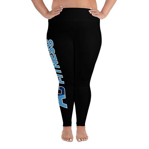 All-Over Print Plus Size Leggings Adam Clark Fitness Side Leg Logo - Black/Black