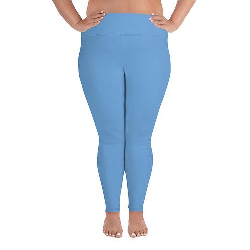 All-Over Print Plus Size Leggings Adam Clark Fitness Back Waist Logo - Lt. Blue
