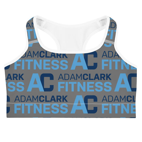 Adam Clark Fitness All Over Logo Sports Bra - Grey