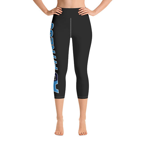 Adam Clark Fitness Side Logo Yoga Capri Leggings - Black - White Stitch