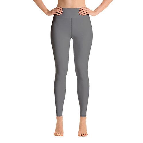 Adam Clark Fitness Yoga Leggings Back Logo - Grey - Black Stitch