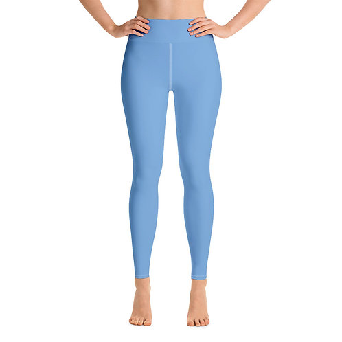 Adam Clark Fitness Yoga Leggings Back Logo - Light Blue - White Stitch