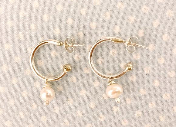 White Pearl Hoop Earrings