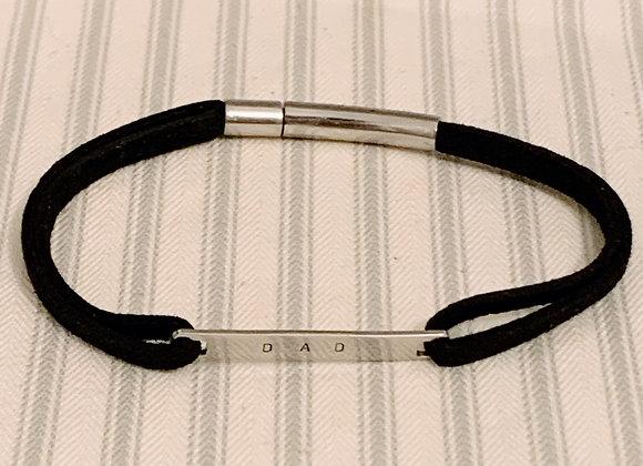 DAD Black Suede Men's Bracelet (stainless steel)