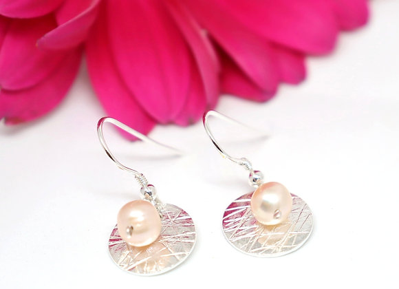 Personalisable Scribbled Pink Pearl Circle Hanging Earrings
