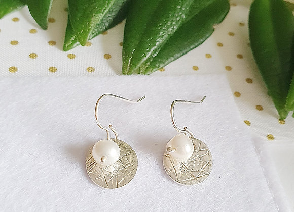 Personalisable Scribbled White Pearl Circle Hanging Earrings