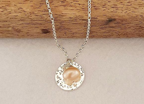 Personalisable Dappled Pink Pearl Circle Necklace - Giftbox