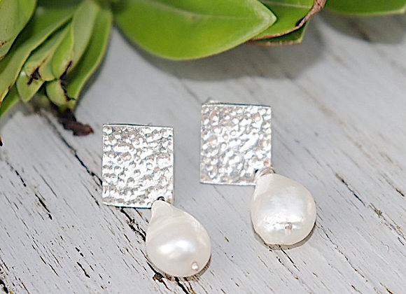 Personalisable Dappled White Pearl Diamond Drop Earrings
