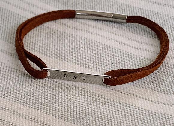 DAD Tan Suede Men's Bracelet (stainless steel)