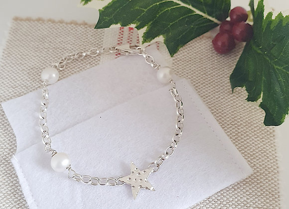 Personalisable Starry Christmas Pearl Bracelet & Box