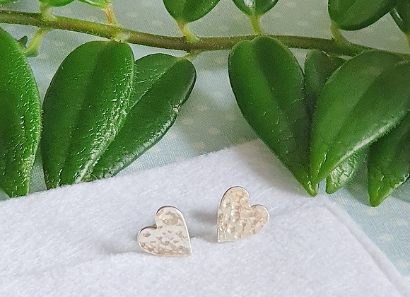 Dappled Heart Stud Earrings