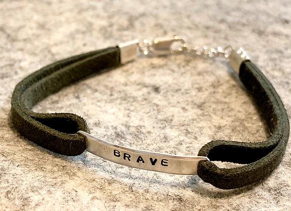 BRAVE Green Suede Bracelet