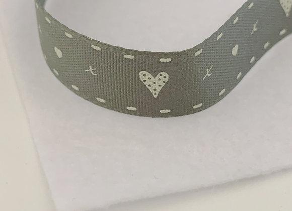 Grey Heart and Stitch Ribbon