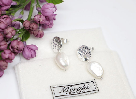 Dappled White Pearl Circle Drop Earrings