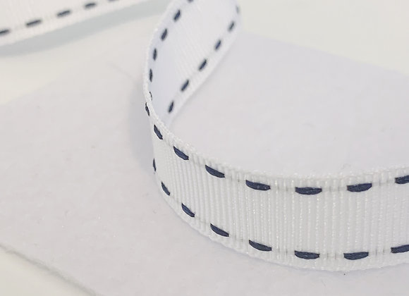 White and Blue Stitched Ribbon