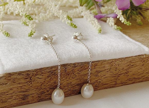 Small Drop Pearl Earrings