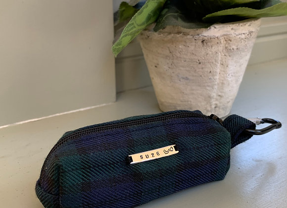 Personalisable Dog Treat/Poo Bag Pouch - Tartan