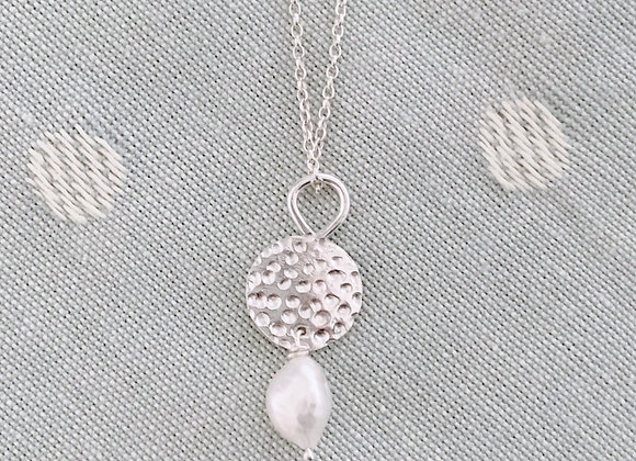 White Pearl and Disc Necklace