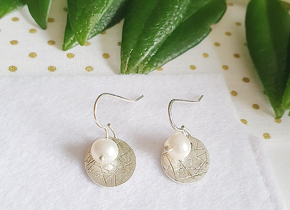 Scribbled White Pearl Circle Hanging Earrings - Giftbox