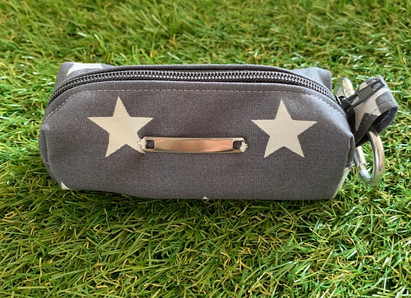 Personalisable Dog Treat/Poo Bag Pouch - Grey Stars