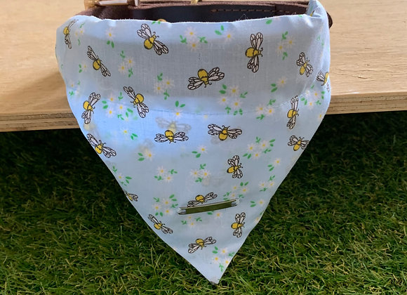 Personalisable Dog/Cat Neckerchief - Light Blue Bees