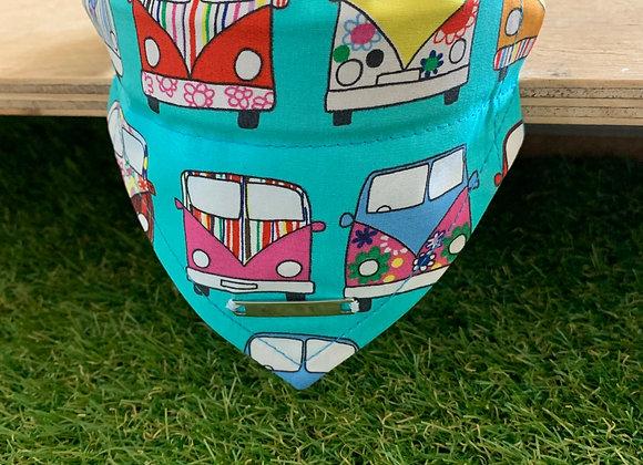 Personalisable Dog/Cat Neckerchief - Turquoise Campervan