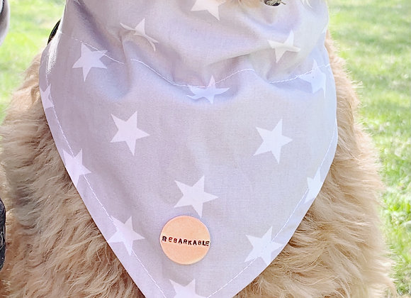 'Rebarkable' Grey Star Neckerchief -Medium