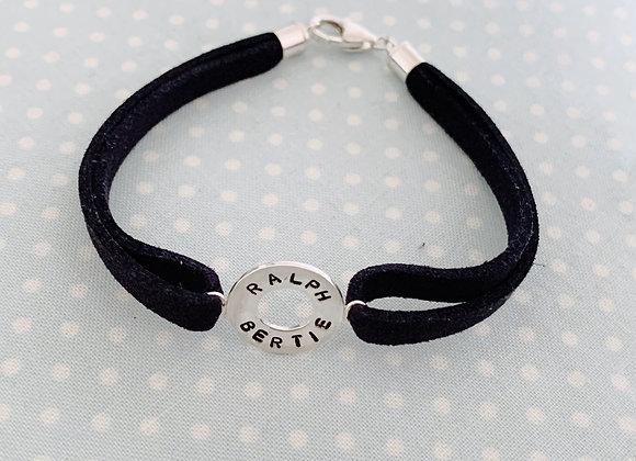 Personalisable Names Navy Suede Bracelet