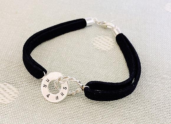 Personalised Twisted and Plain Hoop Navy Suede Bracelet