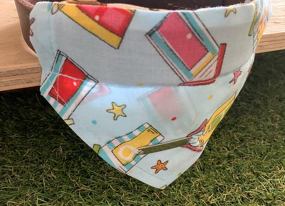 Personalisable Dog/Cat Neckerchief - Light Blue Beach Hut