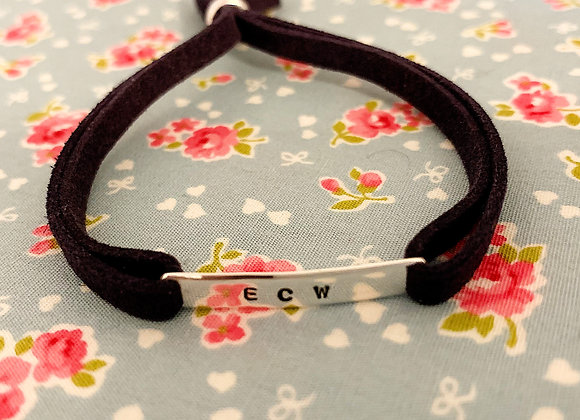 Navy Blue Suede Initial or Name Bracelet