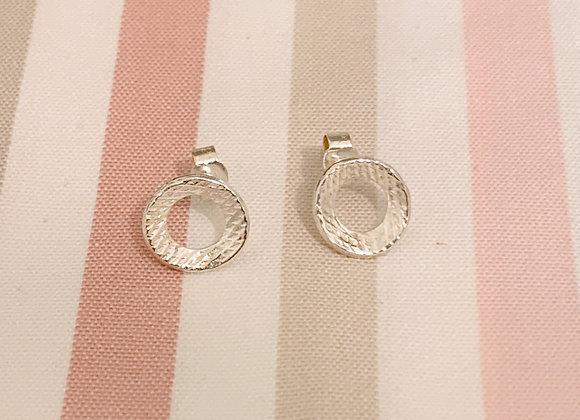 Textured Doughnut Silver Stud Earrings