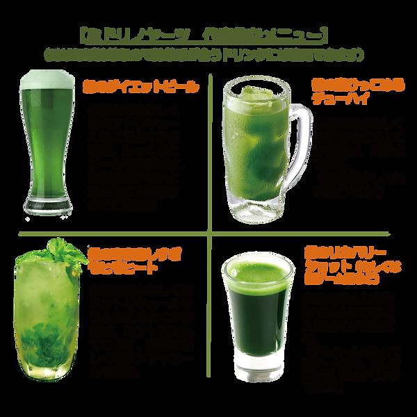 ミドリノヤーツ 代表的なメニュー。味はほぼ抹茶なので抹茶系が合うドリンクには適用できます緑のダイエットビール少量のお水もしくはミントリキュールなどでよくかき混ぜ、ゆっくりとビールを注ぎます。 ※混ぜが少ないと泡が急に立ちますのでご注意を緑の腹ひっこめるチューハイ少量のお水もしくは焼酎などでよくかき混ぜ、炭酸水で割る。 (緑茶を少し入れるなどもOK)緑の毒素出しすぎ モヒモヒート少量のお水もしくはミントリキュールやラムなどでよくかき混ぜ、ミントを入れてつぶす。炭酸水もしくはジンジャエールで割る。緑のリカバリーショット(もしくは罰ゲーム用など)少量のお水とお好みでガムシロなど入れ良くかき混ぜる。 (アルコールを入れて罰ゲームでも、無しで二日酔い防止ドリンクでもOK)