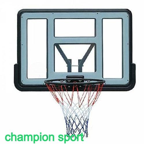 """לוח כדורסל פולי קרבונט שקוף 110/75 ס""""מ מקצועי עם מנגנון הרחקה מהקיר"""