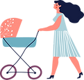 Mama mit Kinderwagen
