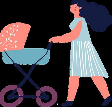 Maman avec poussette